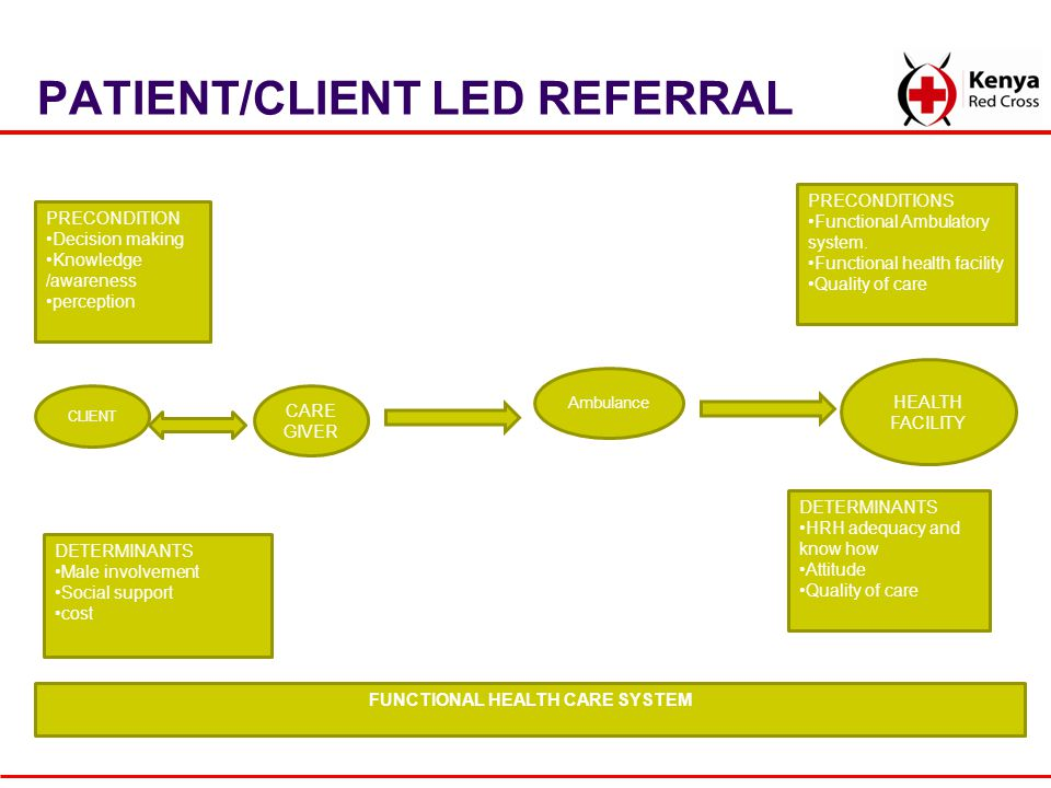 PATIENT/CLIENT LED REFERRAL CLIENT HEALTH FACILITY CARE GIVER DETERMINANTS HRH adequacy and know how Attitude Quality of care PRECONDITIONS Functional