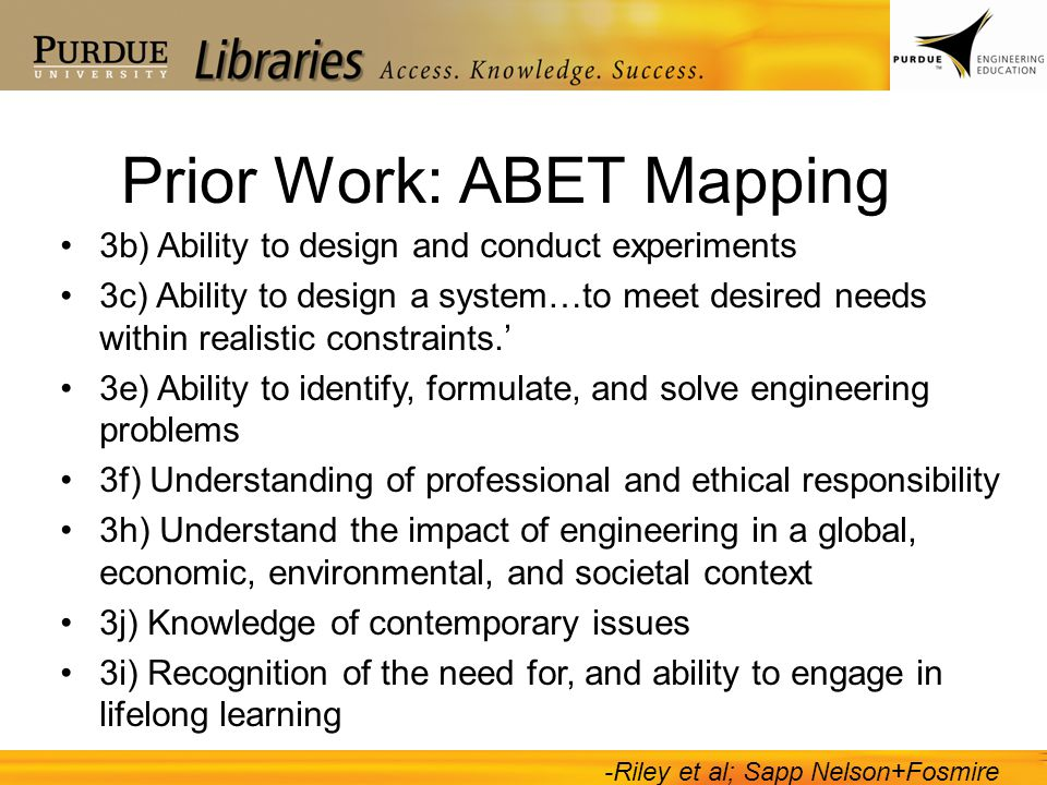 Prior Work: ABET Mapping 3b) Ability to design and conduct experiments 3c) Ability to design a system…to meet desired needs within realistic constraints.' 3e) Ability to identify, formulate, and solve engineering problems 3f) Understanding of professional and ethical responsibility 3h) Understand the impact of engineering in a global, economic, environmental, and societal context 3j) Knowledge of contemporary issues 3i) Recognition of the need for, and ability to engage in lifelong learning -Riley et al; Sapp Nelson+Fosmire