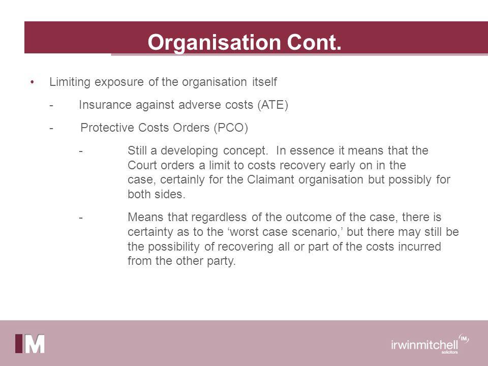 Organisation Cont.