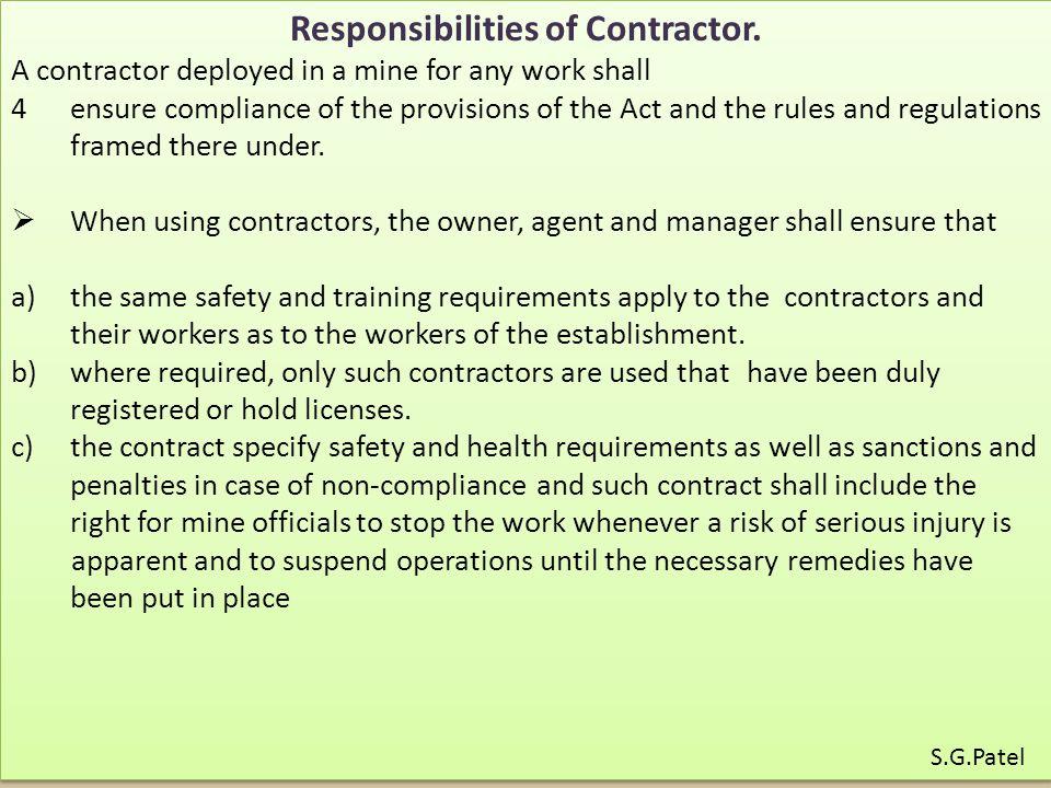 Responsibilities of Contractor.