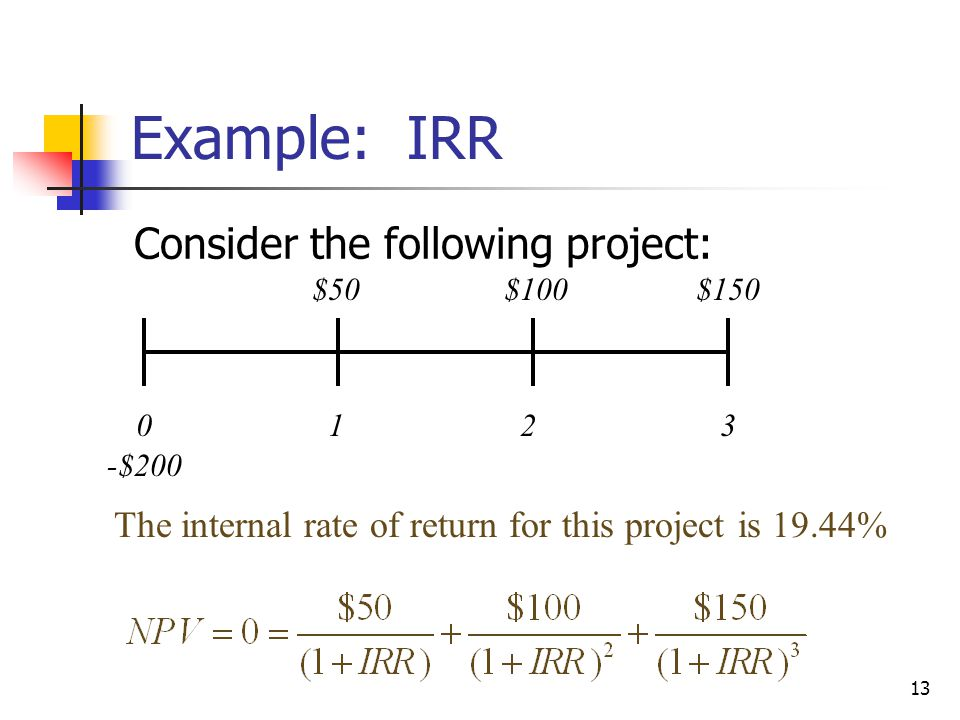 13 Example: IRR Consider the following project: 0123 $50$100$150 -$200 The internal rate of return for this project is 19.44%