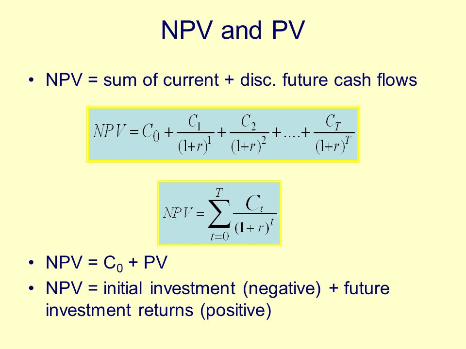 NPV Rule NPV Rule - Accept investments (or financing methods) that have positive NPVs Such investments generate enough cash to –Cover their operating costs –Cover their financing costs –Add value to the firm (=NPV) Ex: What is the NPV of a business opportunity that costs $300 and generates the following stream of cash flows: yr 1: 100 yr 2: 150 yr 3: 165, if r=.07?
