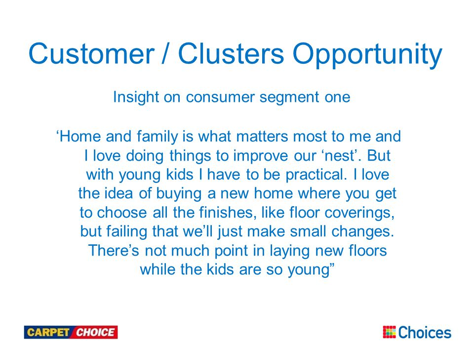 Customer / Clusters Opportunity Insight on consumer segment one 'Home and family is what matters most to me and I love doing things to improve our 'nest'.