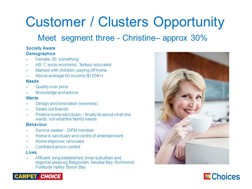 Customer / Clusters Opportunity Meet segment three - Christine– approx 30% Socially Aware Demographics –Female, 50 'something' –AB, C socio economic, Tertiary educated –Married with children, paying off home –Above-average hh income ($120K+) Needs –Quality over price –Knowledge and advice Wants –Design and innovation (newness) –Seeks out brands –Pristine home sanctuary – finally its about what she wants, not what the family needs Behaviour –Service seeker - DIFM mindset –Home is sanctuary and centre of entertainment –Home improver/ renovator –Confident and in control Lives –Affluent, long established, inner suburban and regional areas eg Balgowlah, Neutral Bay, Richmond, Fortitude Valley, Byron Bay