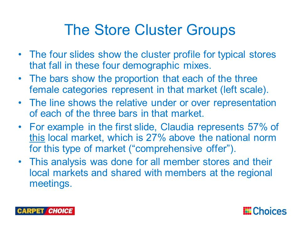 The Store Cluster Groups The four slides show the cluster profile for typical stores that fall in these four demographic mixes.