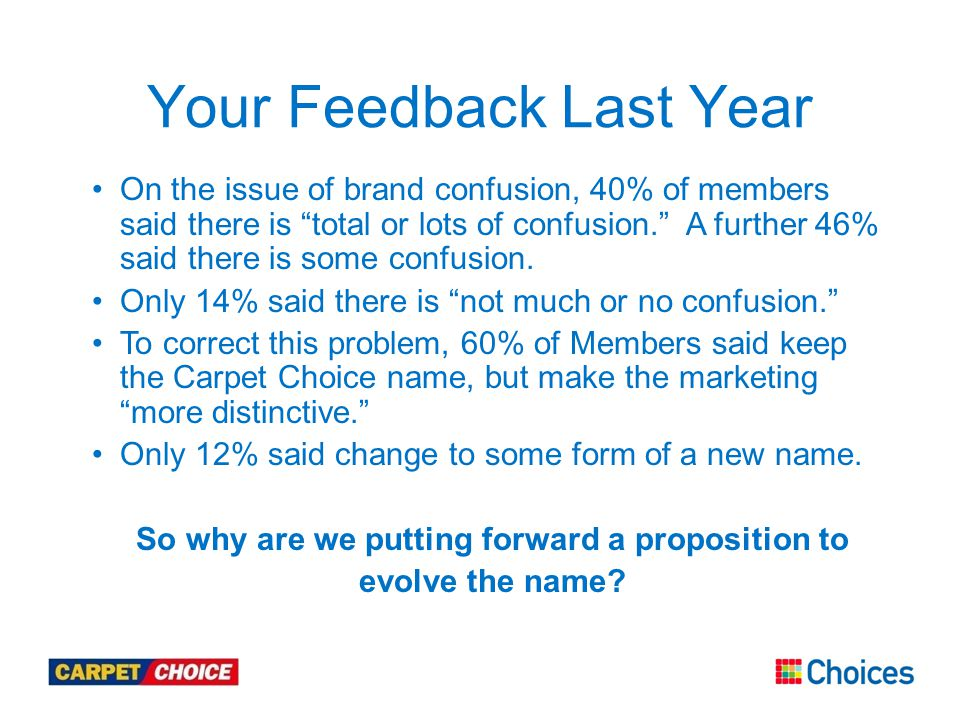 Your Feedback Last Year On the issue of brand confusion, 40% of members said there is total or lots of confusion. A further 46% said there is some confusion.