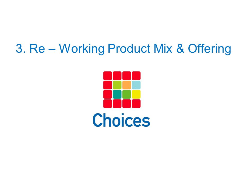 3. Re – Working Product Mix & Offering