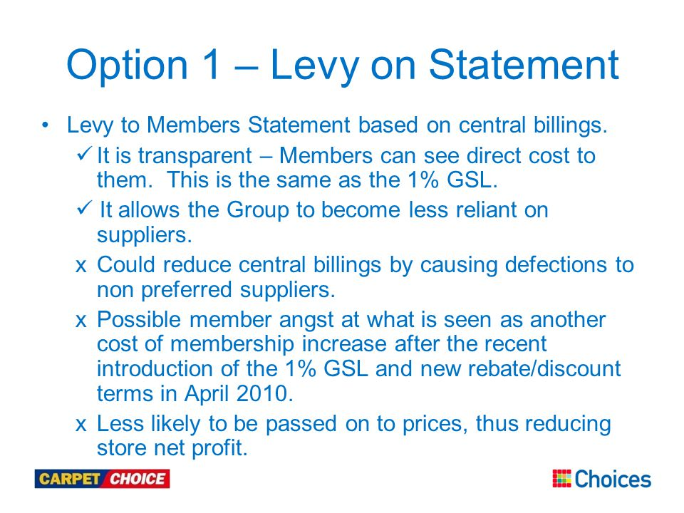 Option 1 – Levy on Statement Levy to Members Statement based on central billings.