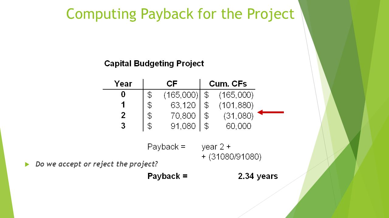 Computing Payback for the Project  Do we accept or reject the project