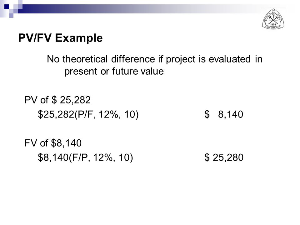 PV/FV Example No theoretical difference if project is evaluated in present or future value PV of $ 25,282 $25,282(P/F, 12%, 10)$ 8,140 FV of $8,140 $8,140(F/P, 12%, 10)$ 25,280