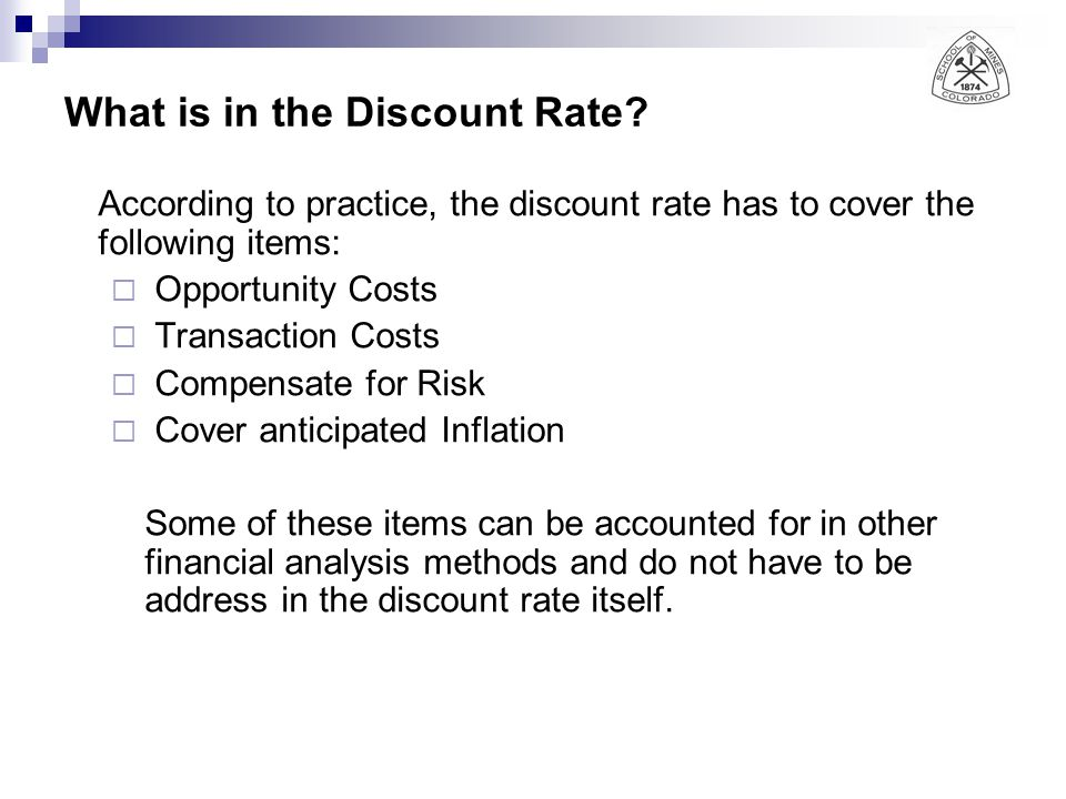 What is in the Discount Rate.