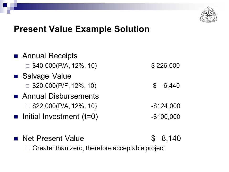 Present Value Example Solution Annual Receipts  $40,000(P/A, 12%, 10)$ 226,000 Salvage Value  $20,000(P/F, 12%, 10) $ 6,440 Annual Disbursements  $22,000(P/A, 12%, 10)-$124,000 Initial Investment (t=0) -$100,000 Net Present Value$ 8,140  Greater than zero, therefore acceptable project