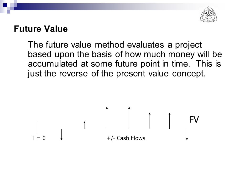 Future Value The future value method evaluates a project based upon the basis of how much money will be accumulated at some future point in time.