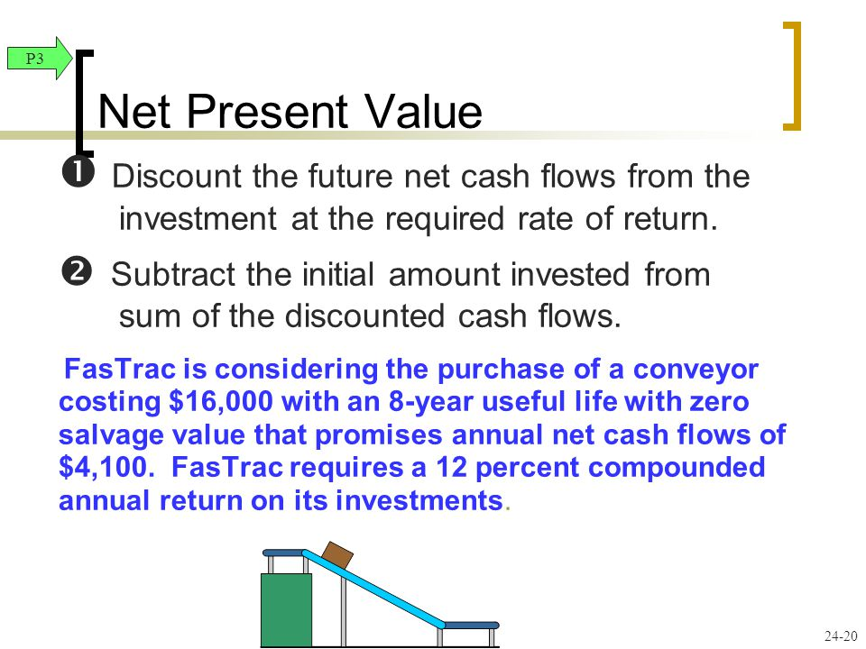 24-20  Discount the future net cash flows from the investment at the required rate of return.  Subtract the initial amount invested from sum of the