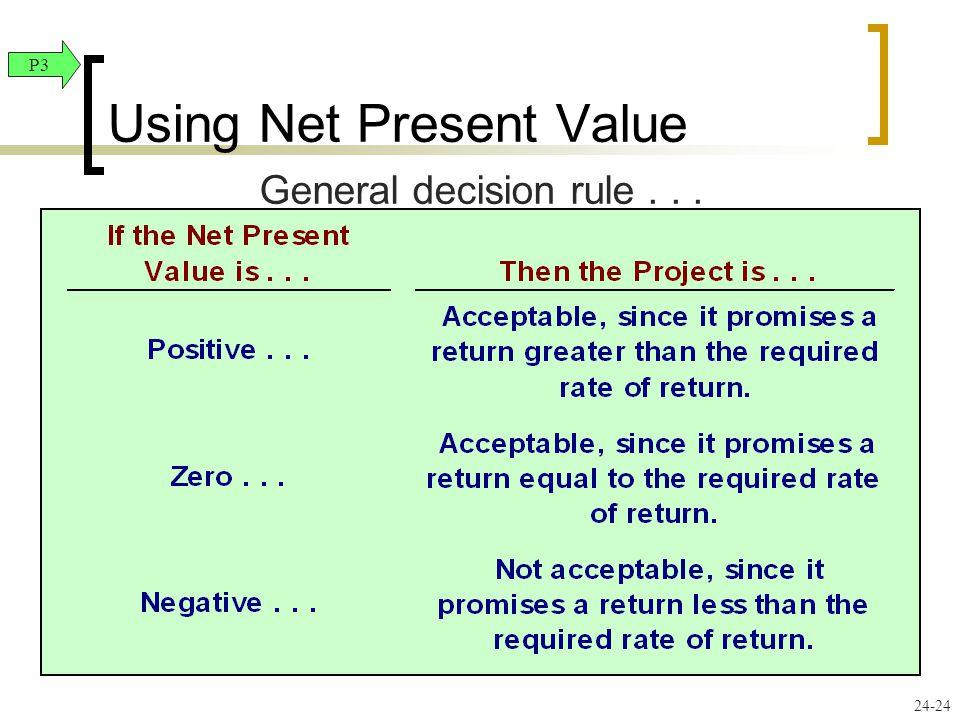 24-24 General decision rule... Using Net Present Value P3