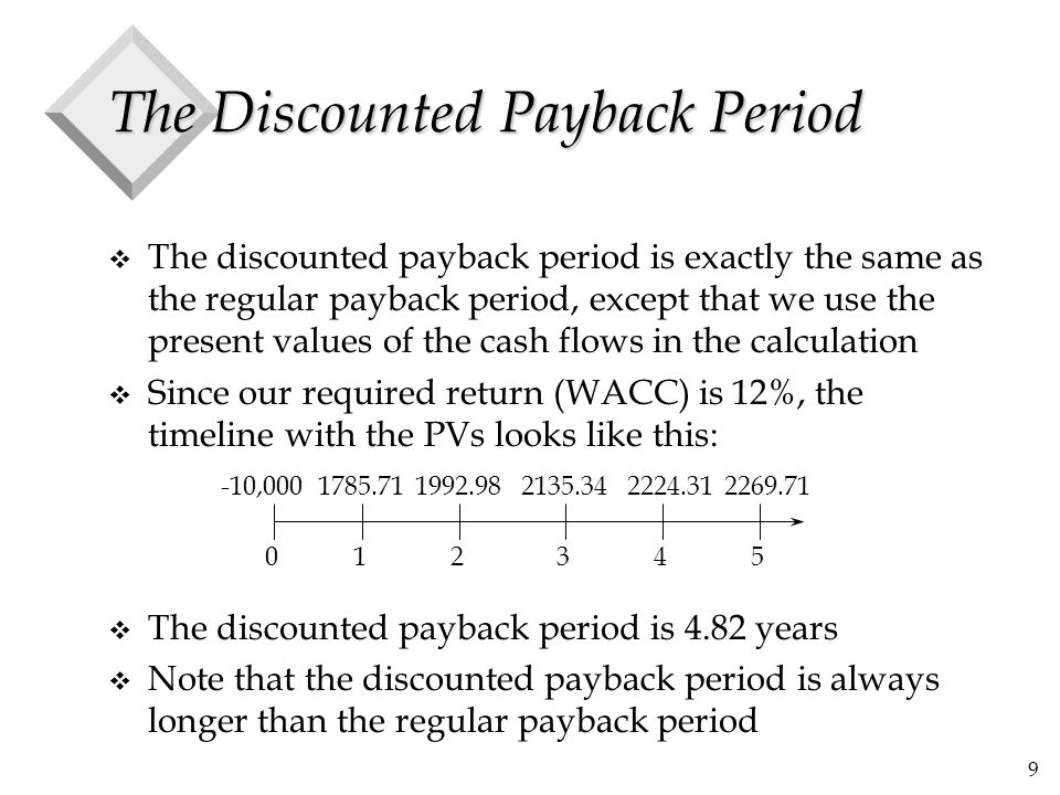9 The Discounted Payback Period v The discounted payback period is exactly the same as the regular payback period, except that we use the present valu