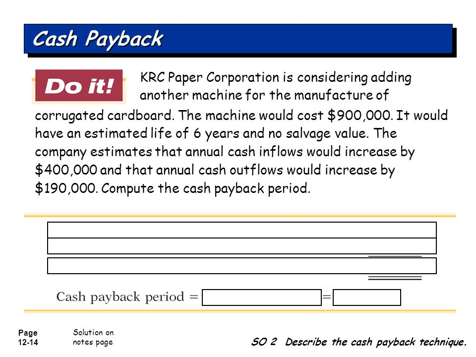 Page 12-15 Question SO 2 Describe the cash payback technique.
