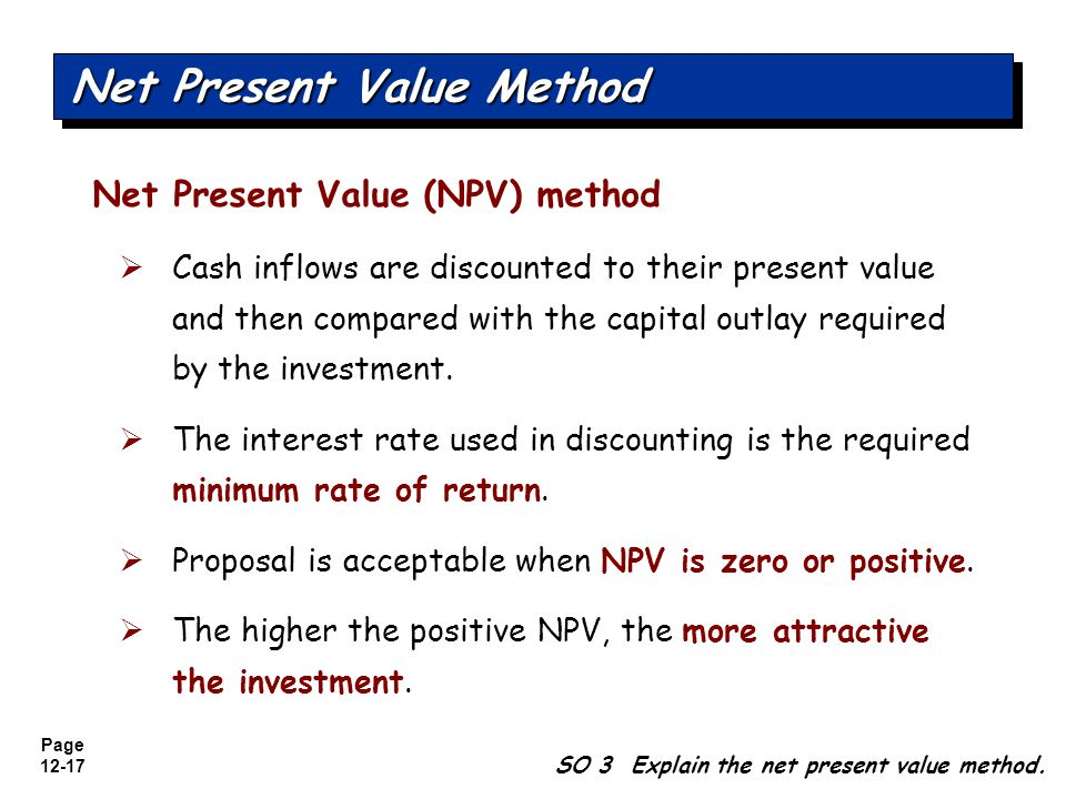 Page 12-18 SO 3 Explain the net present value method.