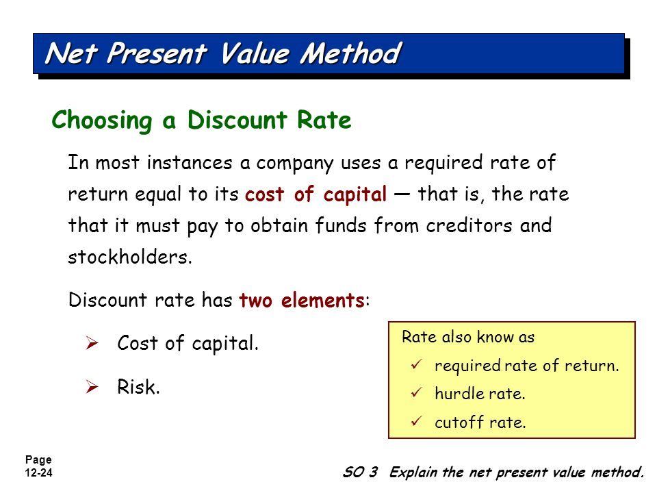 Page 12-25 Illustration: Stewart Soup used a discount rate of 12%.