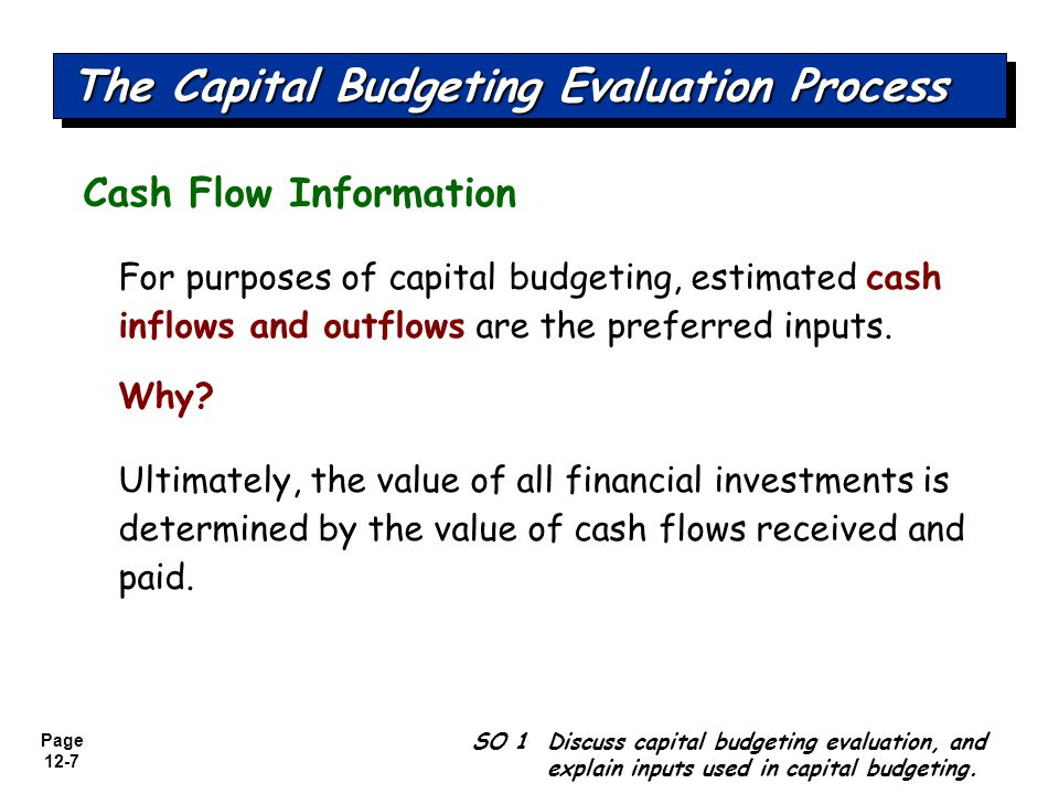 Page 12-8 Cash Flow Information SO 1 Discuss capital budgeting evaluation, and explain inputs used in capital budgeting.