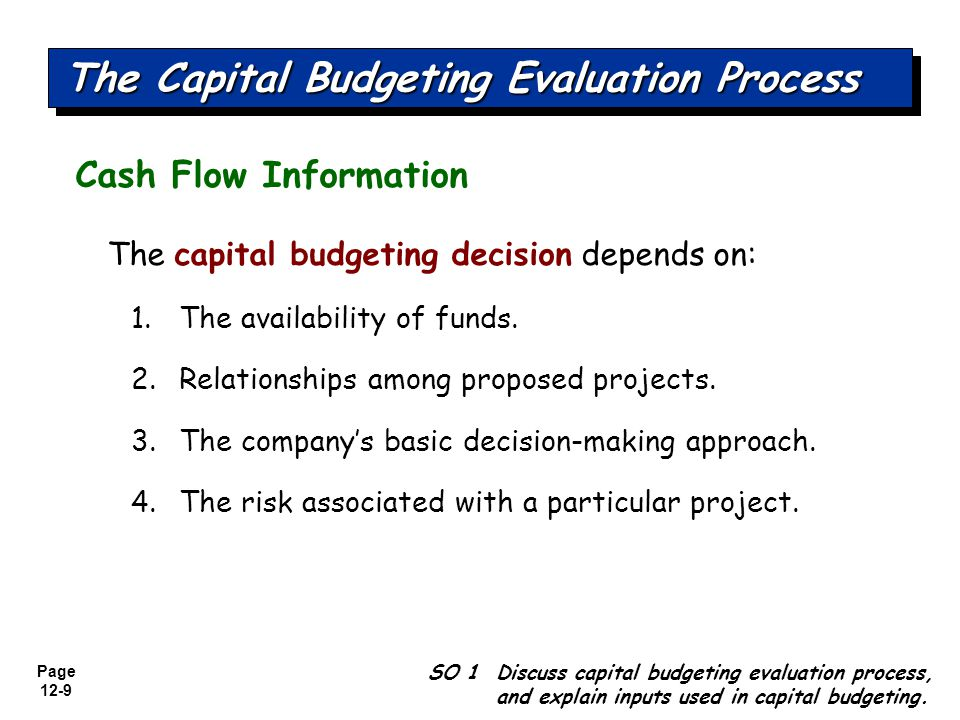 Page 12-10 Illustrative Data SO 1 Discuss capital budgeting evaluation process, and explain inputs used in capital budgeting.