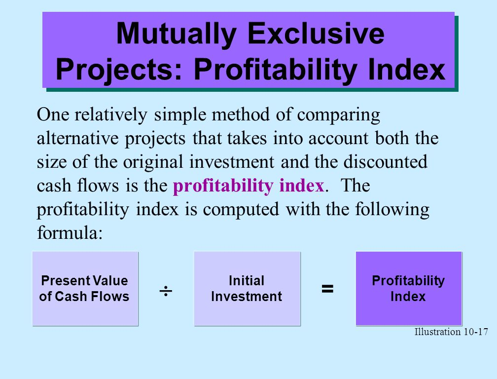 Mutually Exclusive Projects: Profitability Index One relatively simple method of comparing alternative projects that takes into account both the size