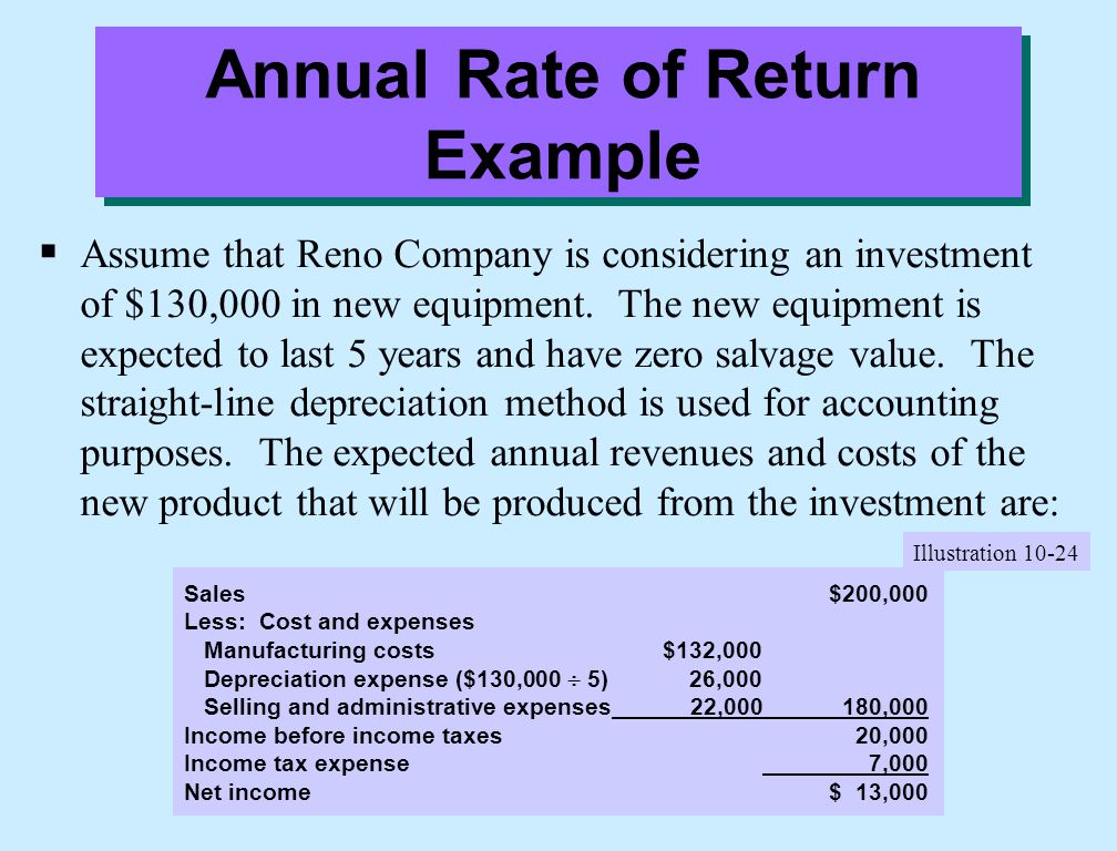 Annual Rate of Return Example  Assume that Reno Company is considering an investment of $130,000 in new equipment. The new equipment is expected to l