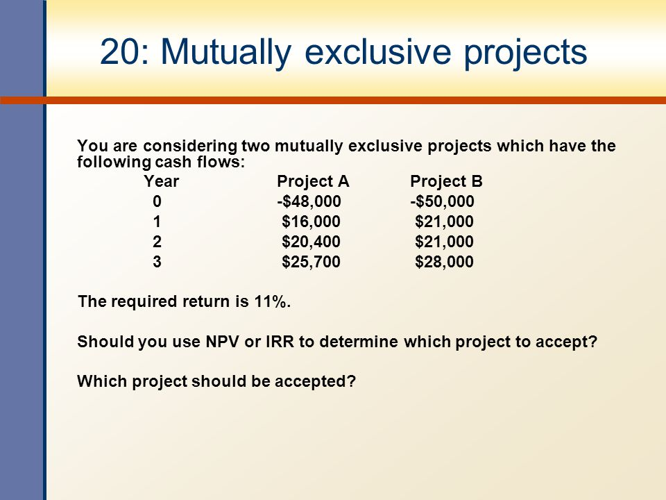 20: Mutually exclusive projects You are considering two mutually exclusive projects which have the following cash flows: YearProject AProject B 0-$48,