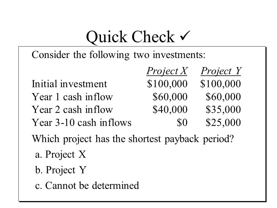Quick Check Consider the following two investments: Project XProject Y Initial investment$100,000$100,000 Year 1 cash inflow$60,000$60,000 Year 2 cash inflow$40,000$35,000 Year 3-10 cash inflows$0$25,000 Which project has the shortest payback period.