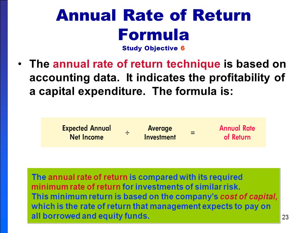 22 Comparison of Discounted Cash Flow Methods In practice, the internal rate of return and cash payback methods are most widely used. A comparative su