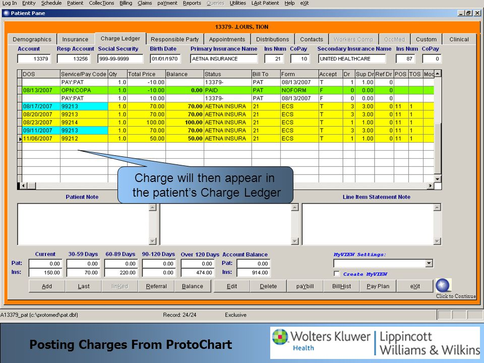 To import charges for a single patient from ProtoChart right click on Patient in Schedule and select PChart To import charges for the whole day simply click PChart Export Posting Charges From ProtoChart Complete charge is brought over from ProtoChart.
