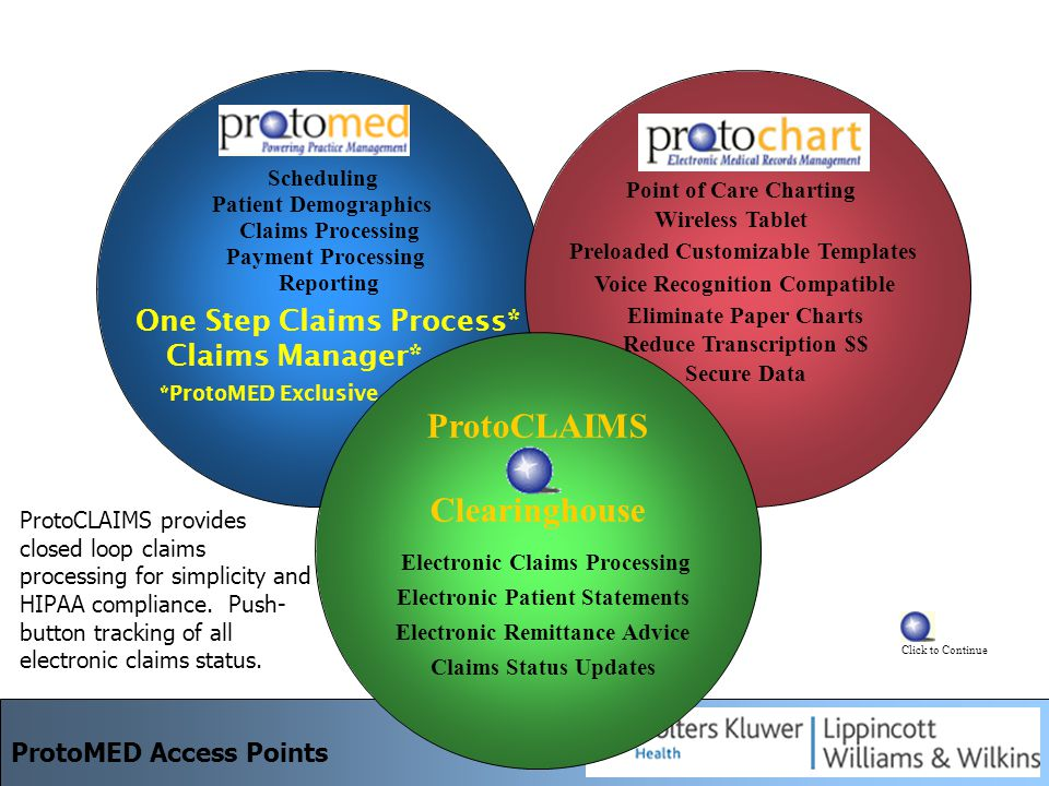 One Step Claims Process* Point of Care Charting Wireless Tablet Preloaded Customizable Templates Voice Recognition Compatible Eliminate Paper Charts Reduce Transcription $$ Secure Data Scheduling Patient Demographics Claims Processing Reporting Claims Manager* *ProtoMED Exclusive ProtoCLAIMS Clearinghouse Electronic Claims Processing Electronic Patient Statements Electronic Remittance Advice Claims Status Updates ProtoCLAIMS provides closed loop claims processing for simplicity and HIPAA compliance.
