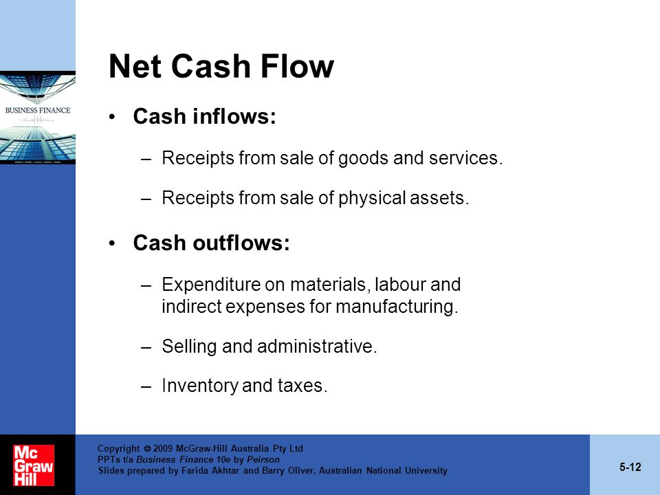 5-12 Copyright  2009 McGraw-Hill Australia Pty Ltd PPTs t/a Business Finance 10e by Peirson Slides prepared by Farida Akhtar and Barry Oliver, Australian National University Net Cash Flow Cash inflows: –Receipts from sale of goods and services.