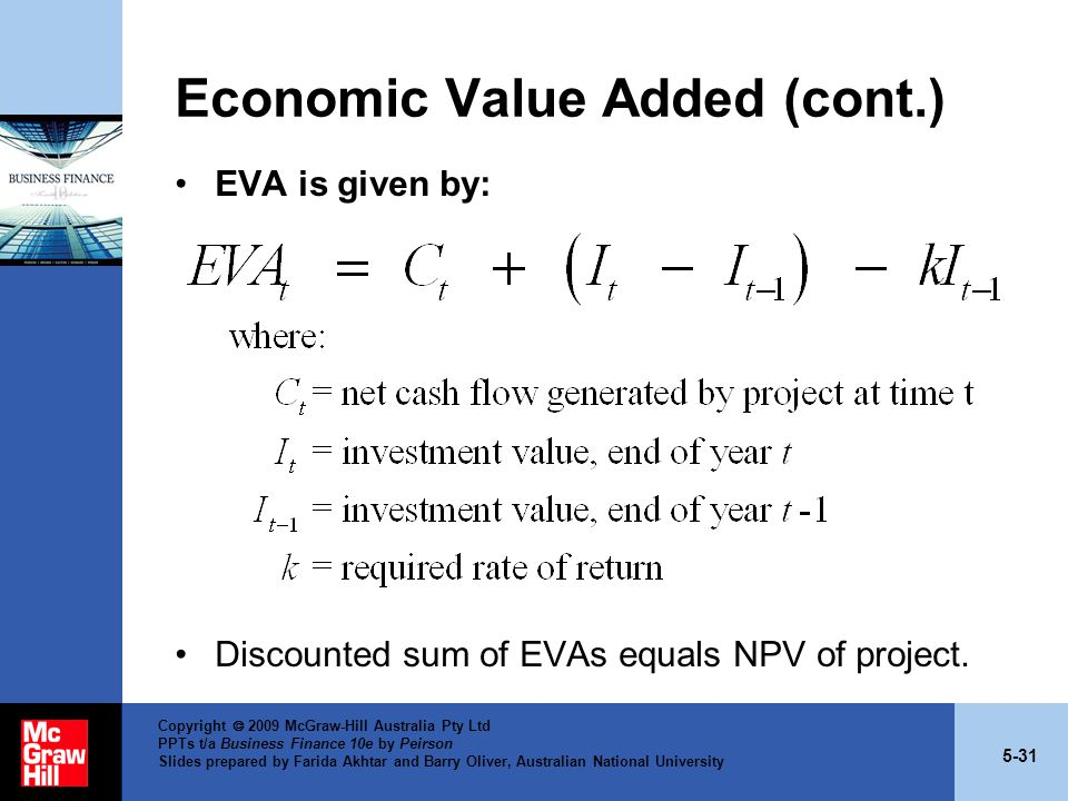 5-31 Copyright  2009 McGraw-Hill Australia Pty Ltd PPTs t/a Business Finance 10e by Peirson Slides prepared by Farida Akhtar and Barry Oliver, Australian National University Economic Value Added (cont.) EVA is given by: Discounted sum of EVAs equals NPV of project.