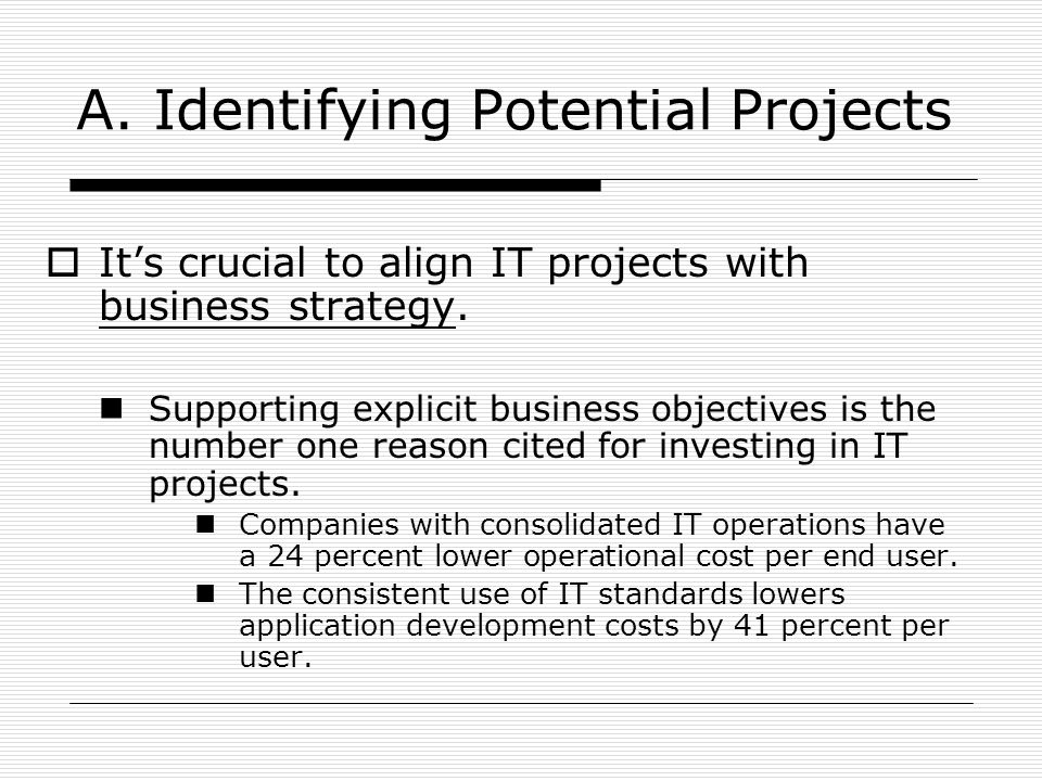 A. Identifying Potential Projects  It's crucial to align IT projects with business strategy. Supporting explicit business objectives is the number on