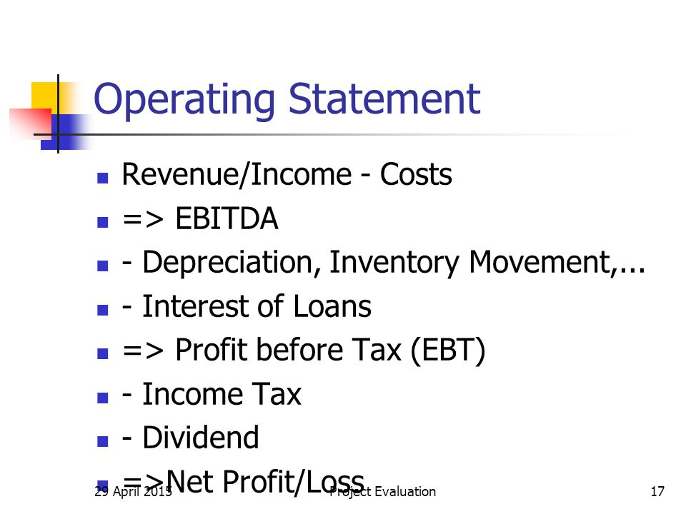 Operating Statement Revenue/Income - Costs => EBITDA - Depreciation, Inventory Movement,... - Interest of Loans => Profit before Tax (EBT) - Income Ta