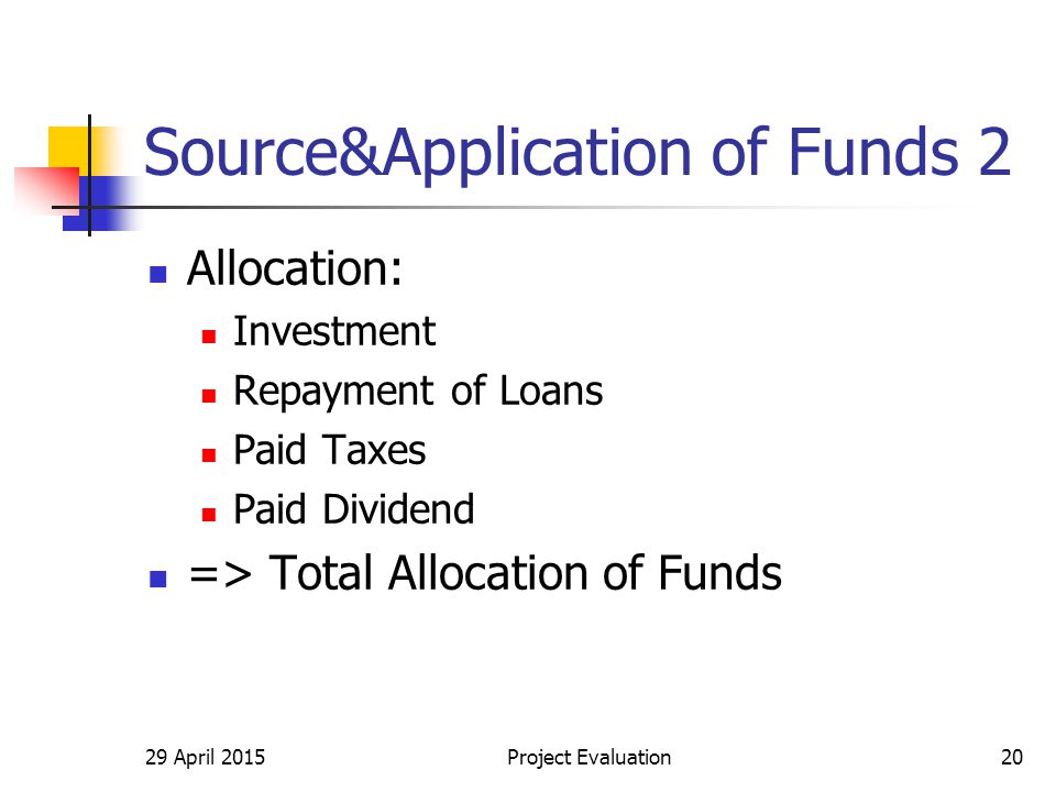 Source&Application of Funds 2 Allocation: Investment Repayment of Loans Paid Taxes Paid Dividend => Total Allocation of Funds 29 April 2015Project Eva