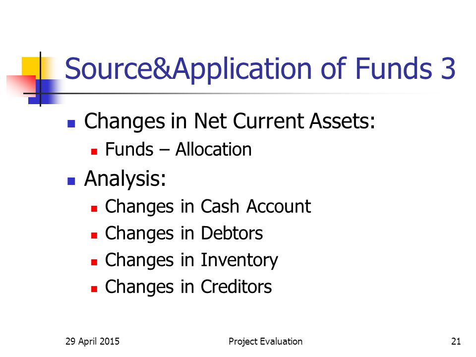 Source&Application of Funds 3 Changes in Net Current Assets: Funds – Allocation Analysis: Changes in Cash Account Changes in Debtors Changes in Inventory Changes in Creditors 29 April 2015Project Evaluation21