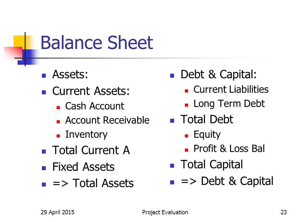 Balance Sheet Assets: Current Assets: Cash Account Account Receivable Inventory Total Current A Fixed Assets => Total Assets Debt & Capital: Current Liabilities Long Term Debt Total Debt Equity Profit & Loss Bal Total Capital => Debt & Capital 29 April 2015Project Evaluation23