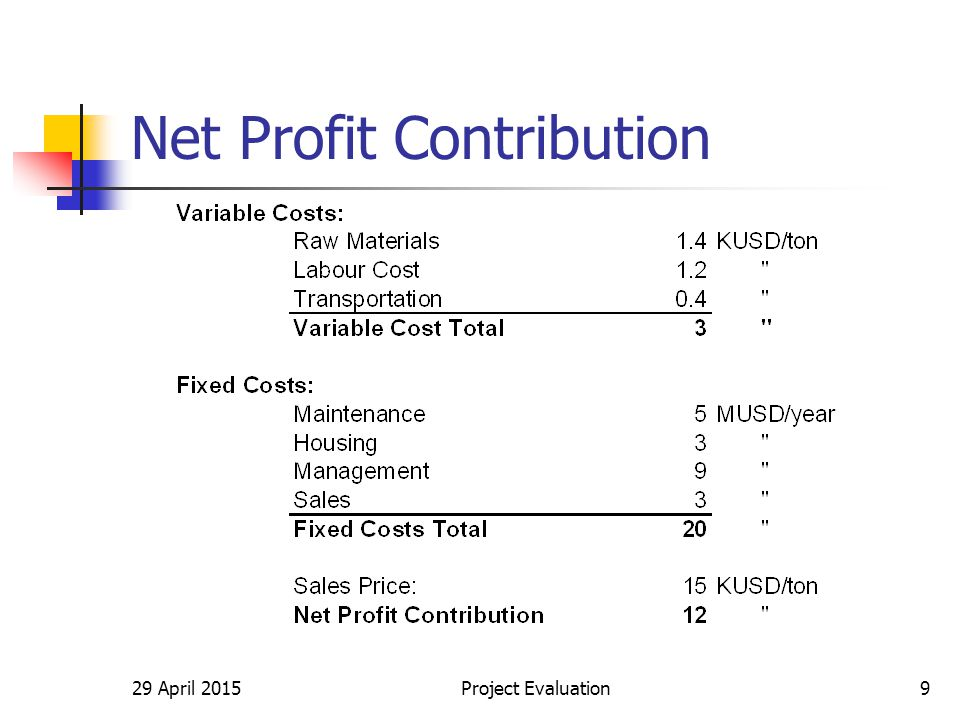 29 April 2015Project Evaluation9 Net Profit Contribution