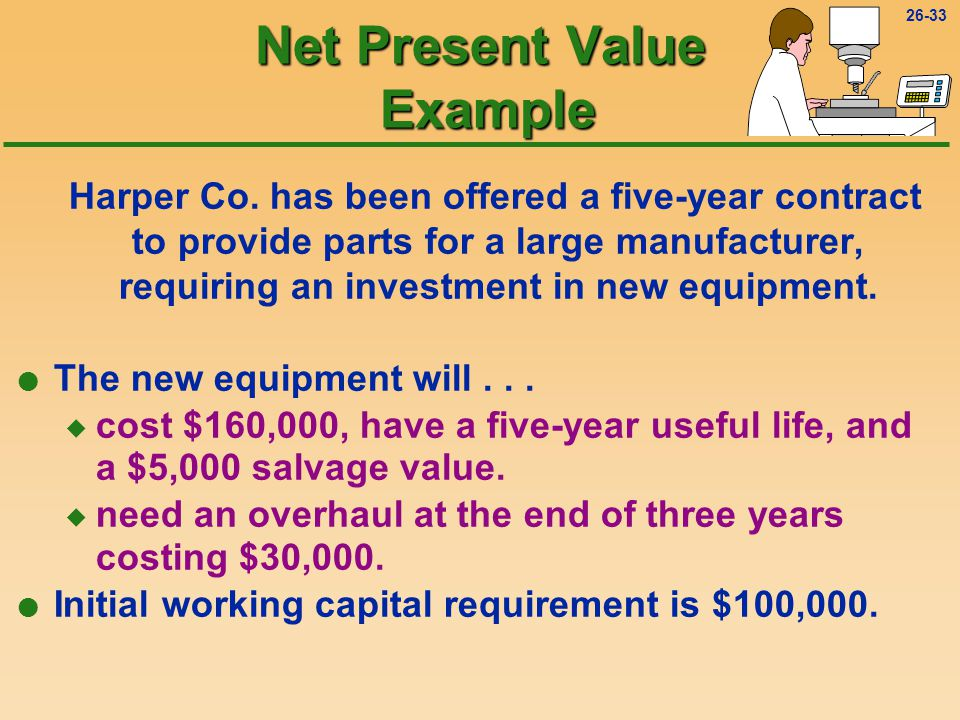 26-32 Net Present Value Now that you have mastered the basic concept of net present value, it's time for a more sophisticated checkup!