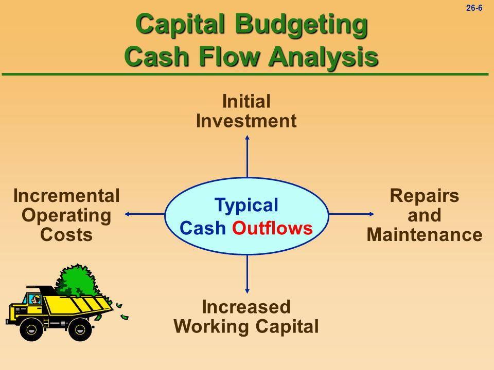 26-5 Project Selection: A General View l Analysis of cash inflows and cash outflows u Net cash inflow is the net cash benefit expected from a capital project in a period.