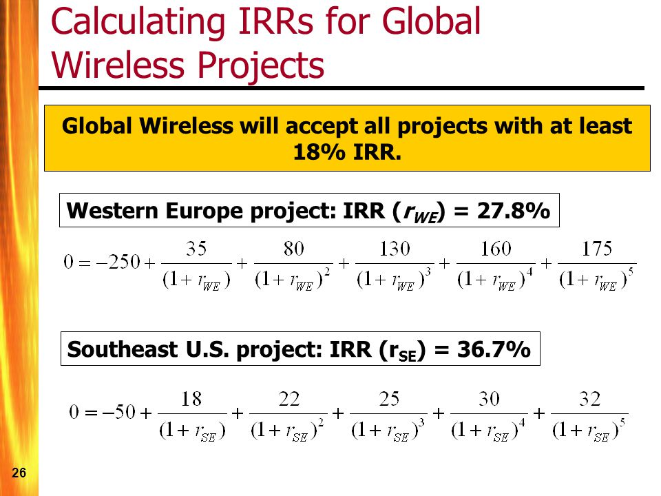 26 Calculating IRRs for Global Wireless Projects Western Europe project: IRR (r WE ) = 27.8%Southeast U.S.