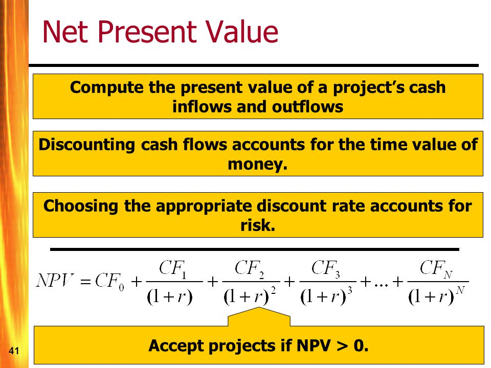 41 Net Present Value Compute the present value of a project's cash inflows and outflows Discounting cash flows accounts for the time value of money.