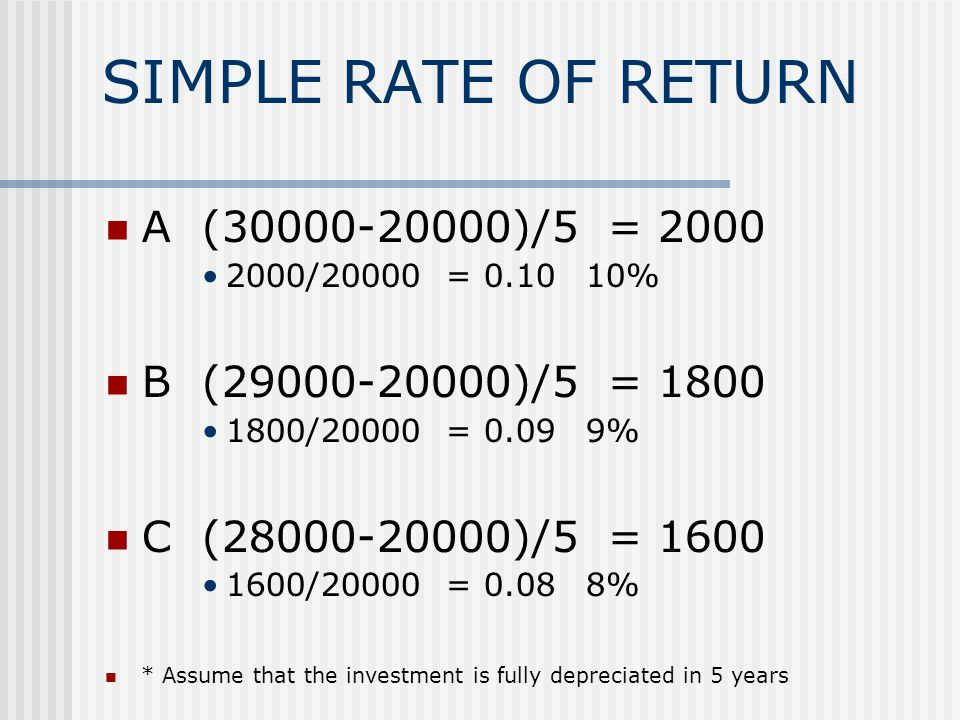 SIMPLE RATE OF RETURN A(30000-20000)/5 = 2000 2000/20000 = 0.1010% B(29000-20000)/5 = 1800 1800/20000 = 0.099% C (28000-20000)/5 = 1600 1600/20000 = 0.088% * Assume that the investment is fully depreciated in 5 years