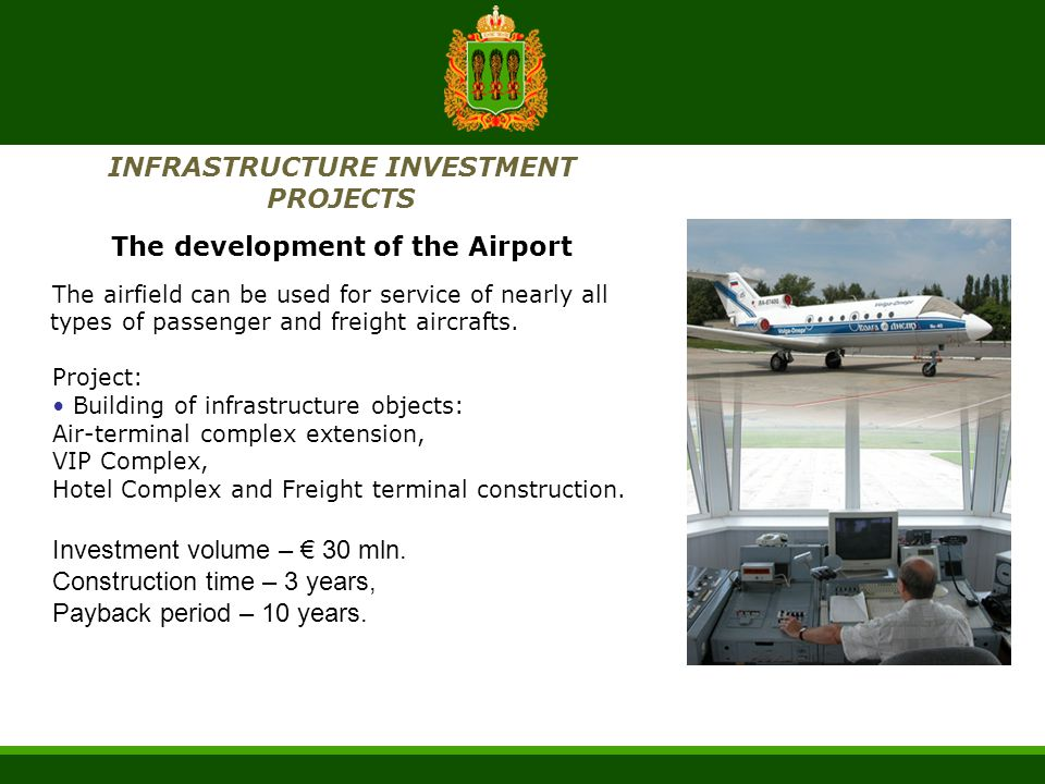 INFRASTRUCTURE INVESTMENT PROJECTS The development of the Airport The airfield can be used for service of nearly all types of passenger and freight ai