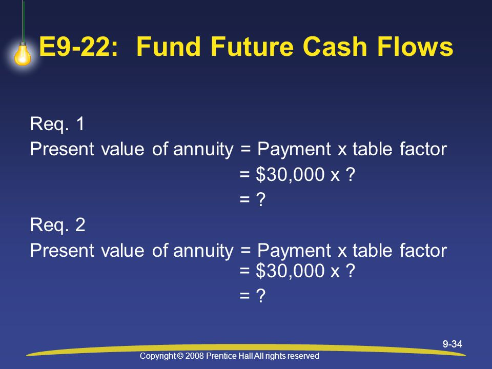 Copyright © 2008 Prentice Hall All rights reserved 9-34 E9-22: Fund Future Cash Flows Req.
