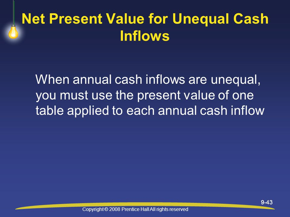 Copyright © 2008 Prentice Hall All rights reserved 9-43 Net Present Value for Unequal Cash Inflows When annual cash inflows are unequal, you must use the present value of one table applied to each annual cash inflow