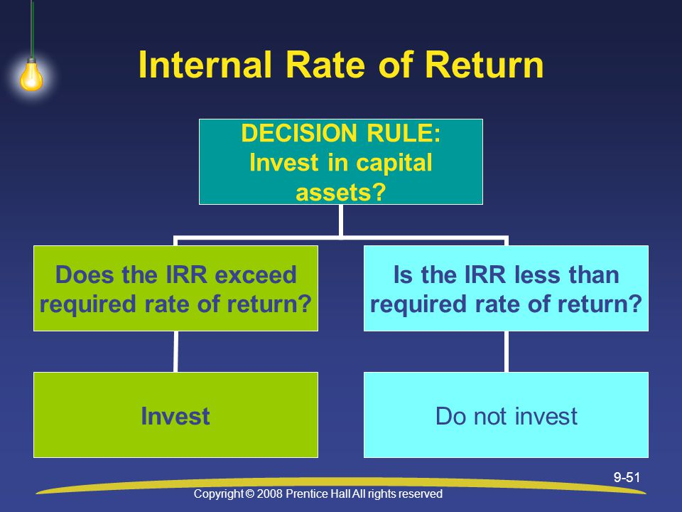 Copyright © 2008 Prentice Hall All rights reserved 9-51 Internal Rate of Return DECISION RULE: Invest in capital assets.