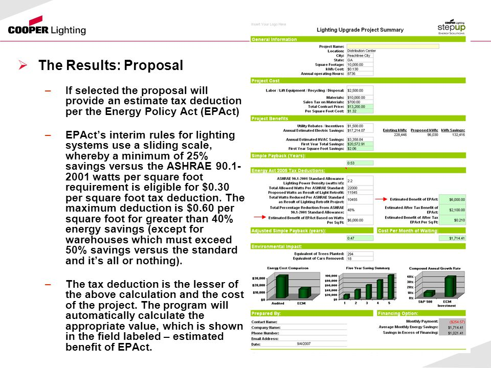  The Results: Proposal –If selected the proposal will provide an estimate tax deduction per the Energy Policy Act (EPAct) –EPAct's interim rules for lighting systems use a sliding scale, whereby a minimum of 25% savings versus the ASHRAE 90.1- 2001 watts per square foot requirement is eligible for $0.30 per square foot tax deduction.